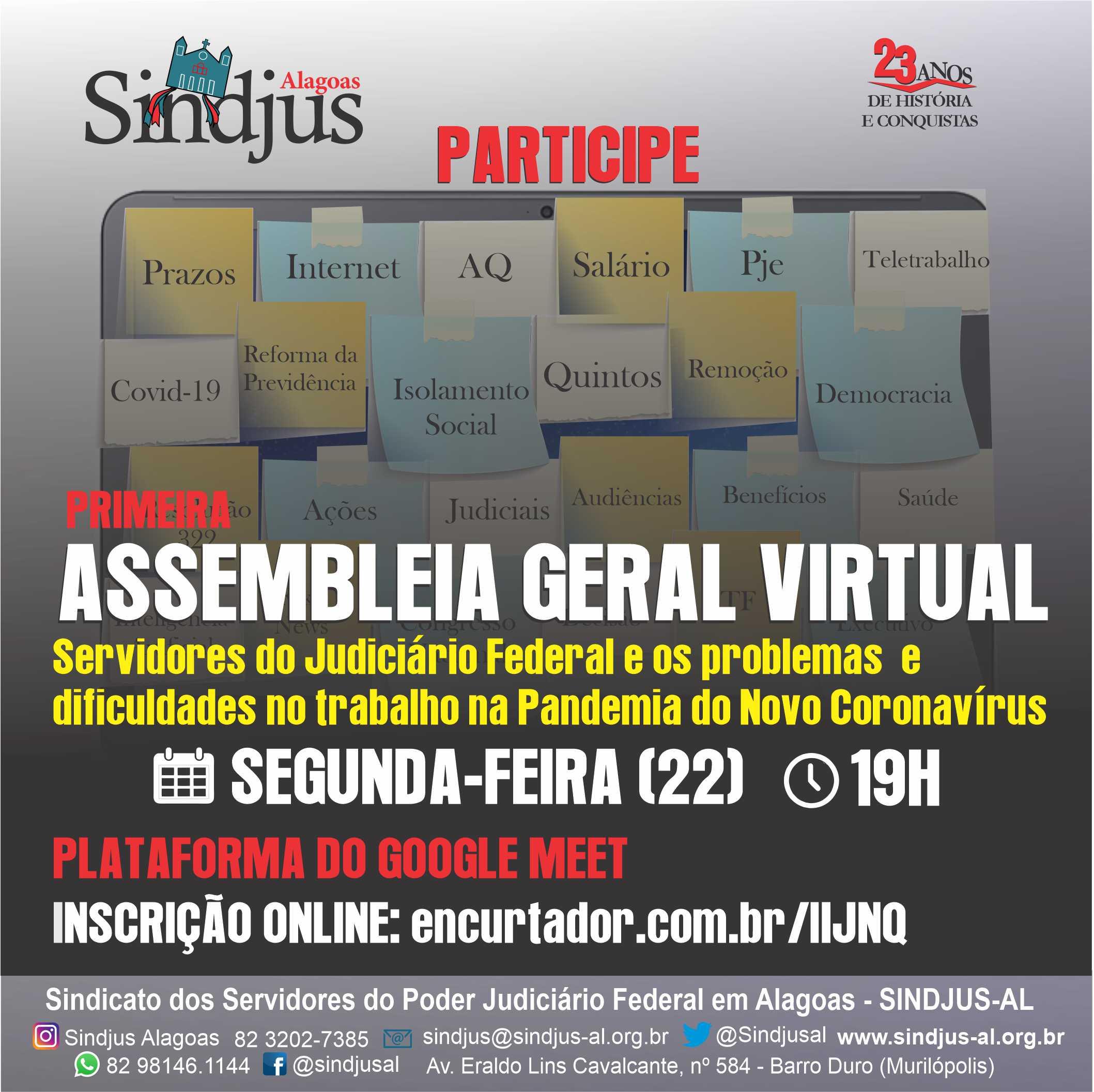 Sindjus-AL fará assembleia geral virtual para tratar dos problemas do trabalho na pandemia nesta segunda (22)